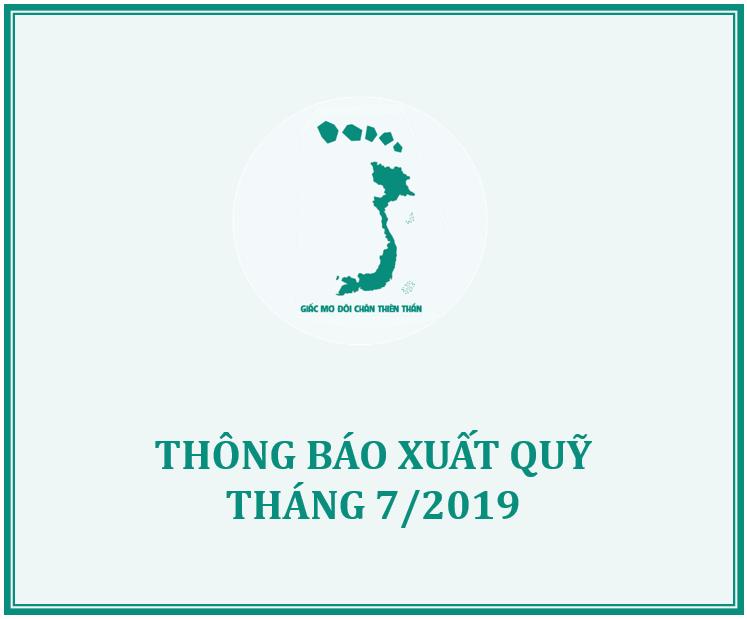 QUỸ GMĐCTT THÔNG BÁO XUẤT QUỸ HỖ TRỢ THÁNG 7/2019