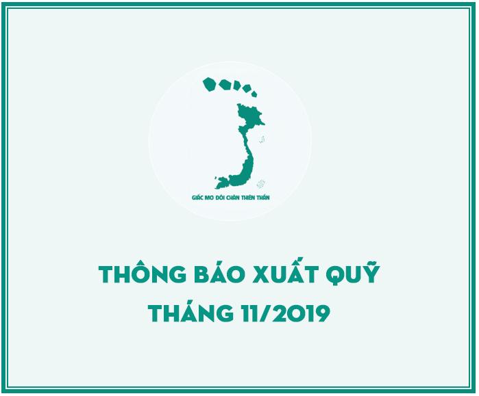 QUỸ GMĐCTT THÔNG BÁO XUẤT QUỸ HỖ TRỢ THÁNG 11/2019